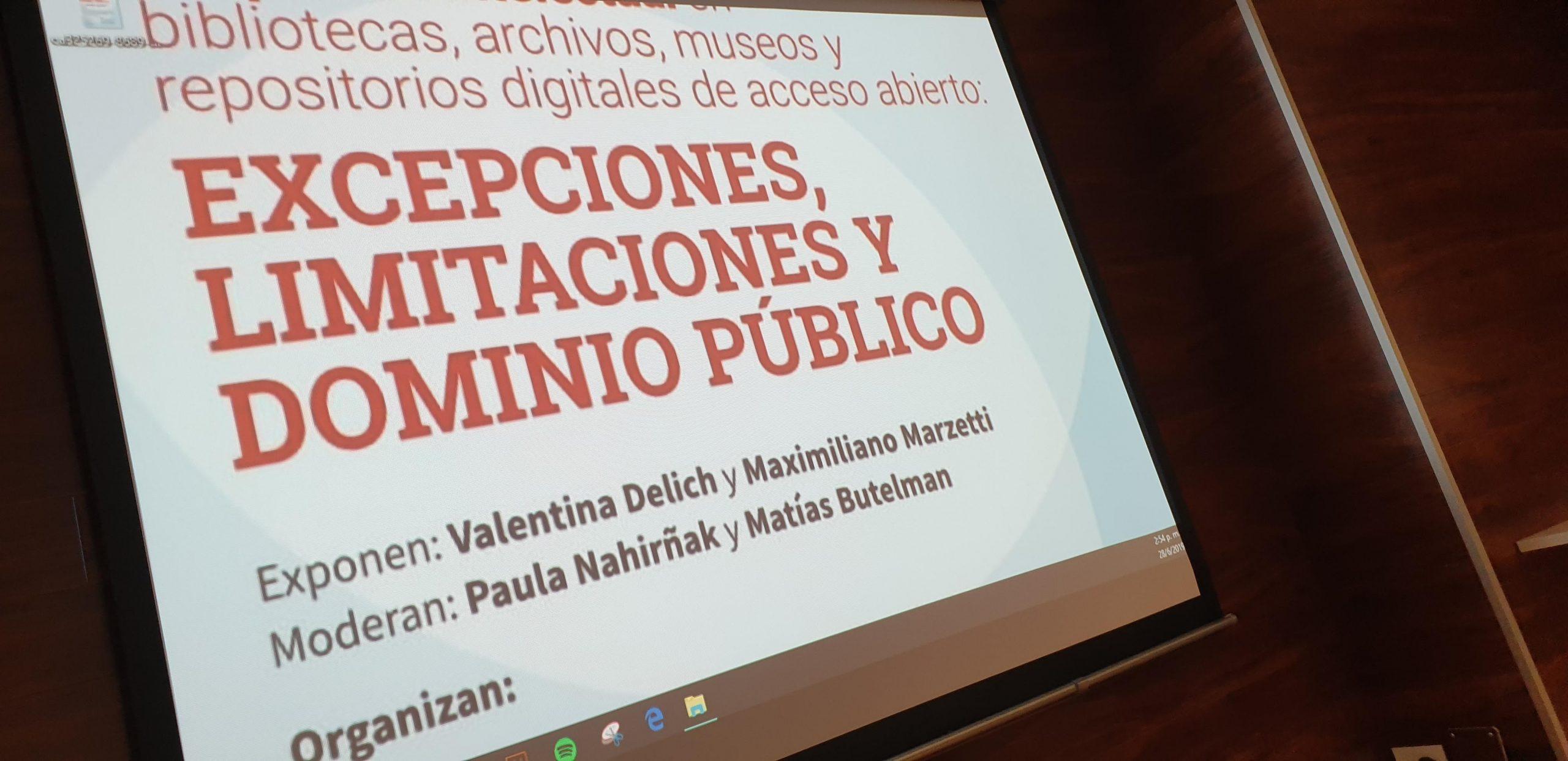 """""""Propiedad intelectual en bibliotecas, archivos, museos y repositorios digitales de acceso abierto: excepciones, limitaciones y domino público"""""""
